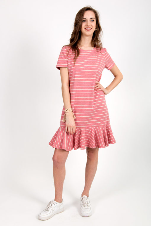 robe rose rayée
