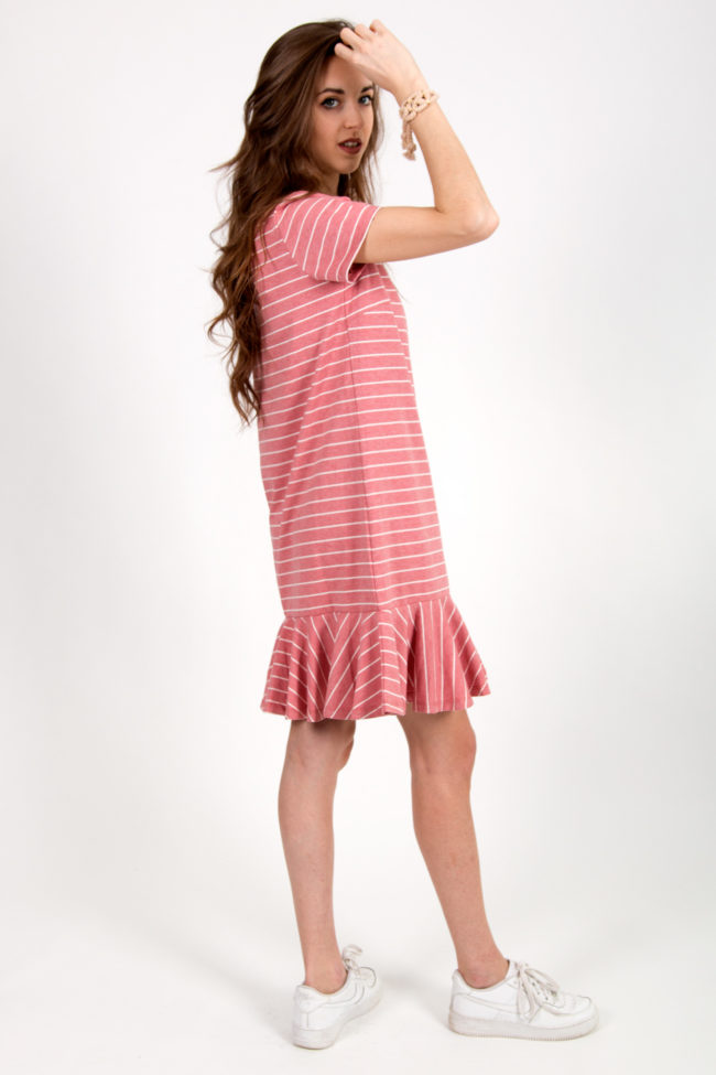 robe rose rayée 3