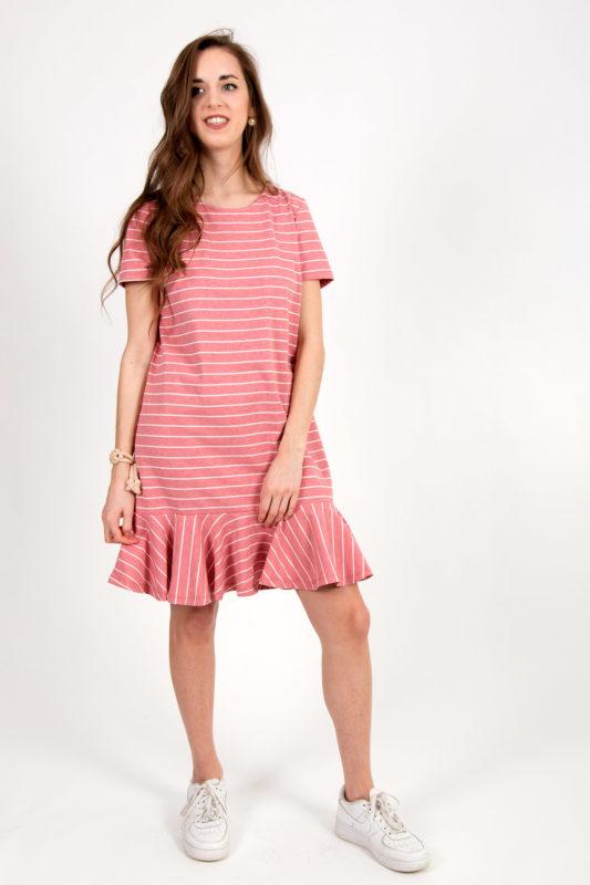 robe rose rayée 2