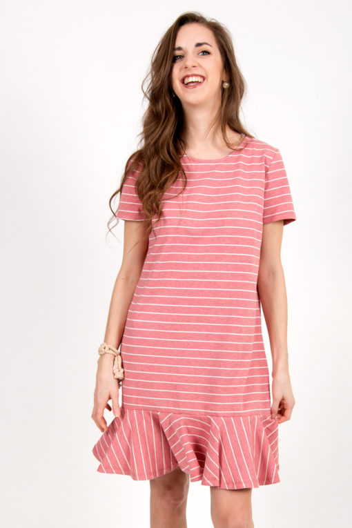 robe rose rayée 1