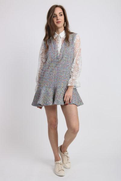 robe tweed peplum