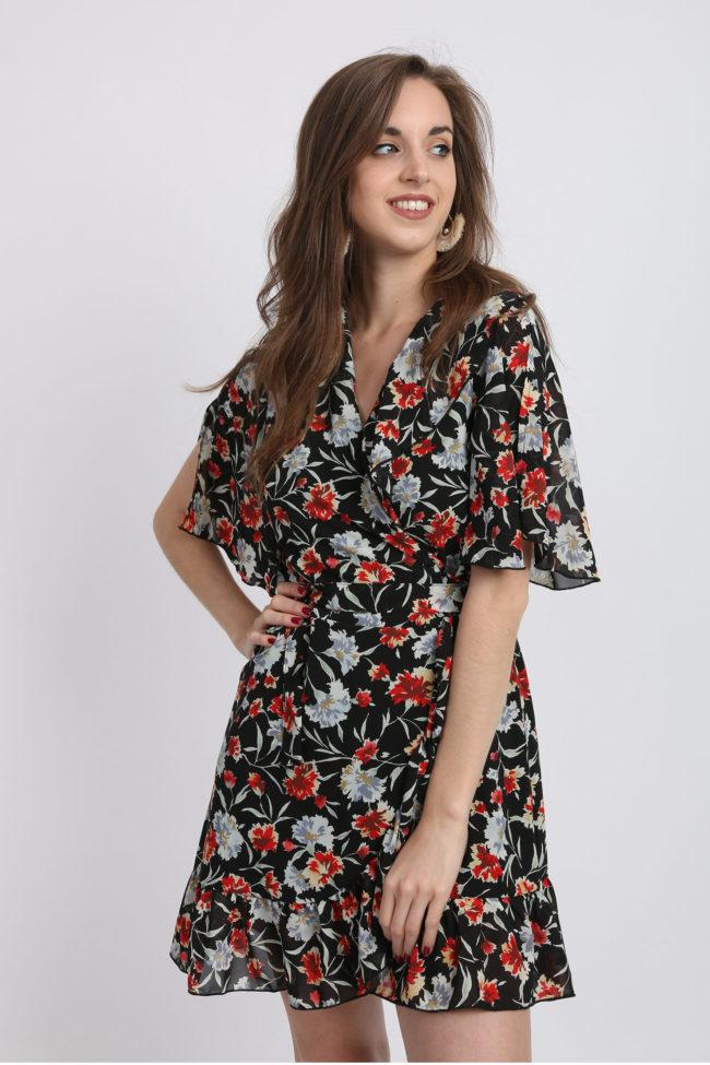 robe portefeuille fleurie