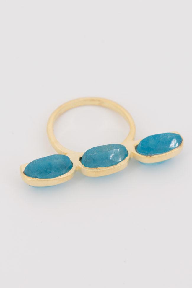 Bague baguette plural bleu 2