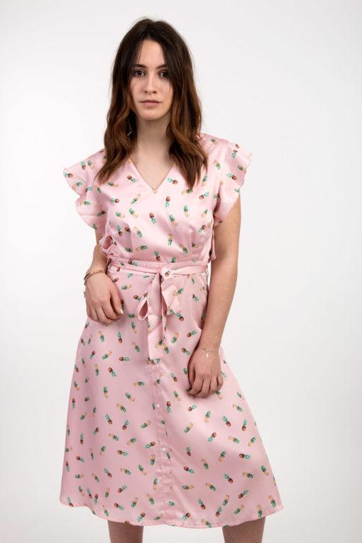 robe rose motifs ananas