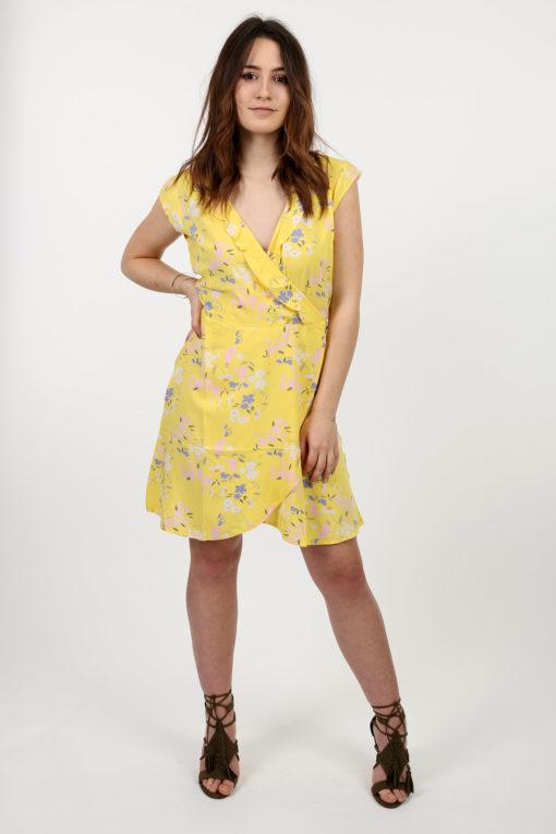 robe jaune à fleurs