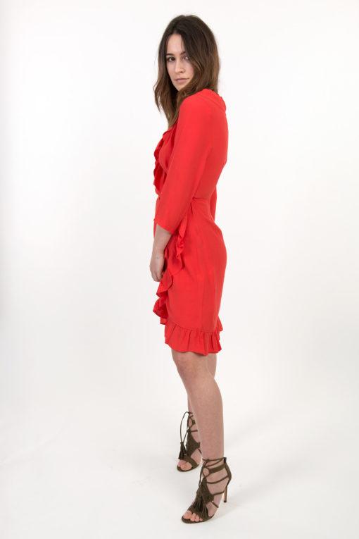 robe portefeuille à volants rouge