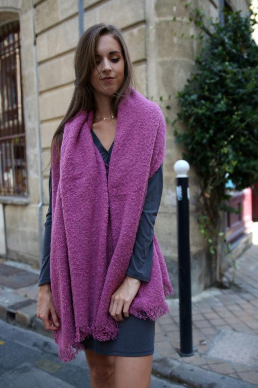 echarpe en laine rose 2