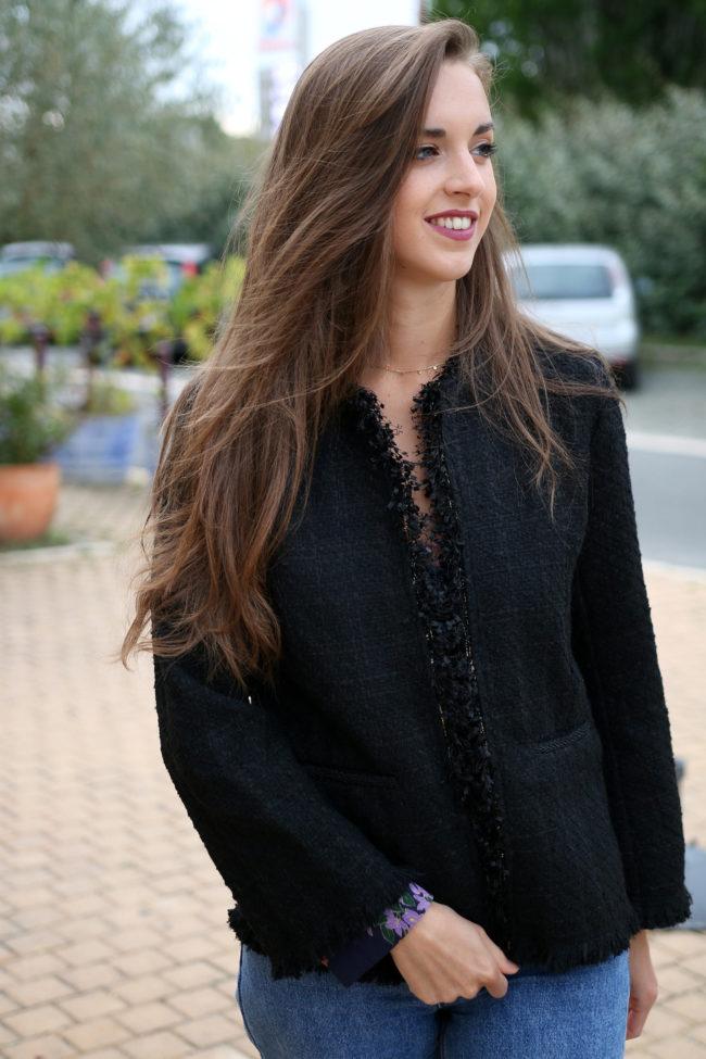 veste tweed noir