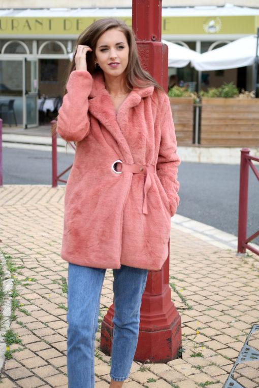 Manteau rose blush 3