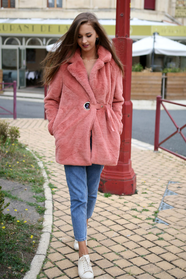 Manteau rose blush 2