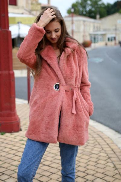 Manteau rose blush