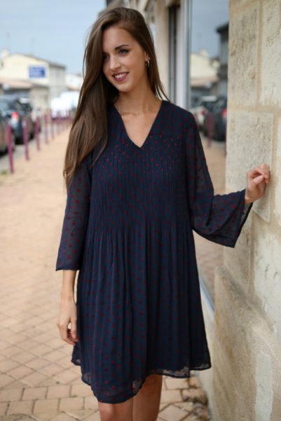 robe marine à pois