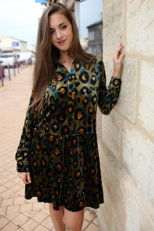 robe velours leopard
